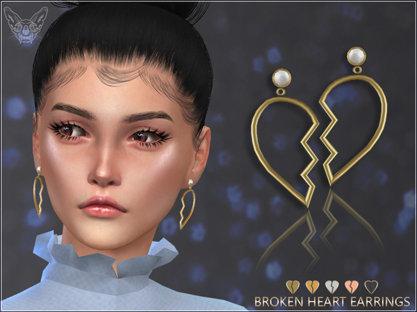 Broken Heart Earrings by feyona at TSR image 527 Sims 4 Updates