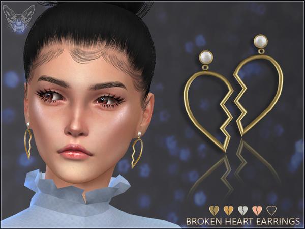 Broken Heart Earrings by feyona at TSR image 527 Sims 4 Updates