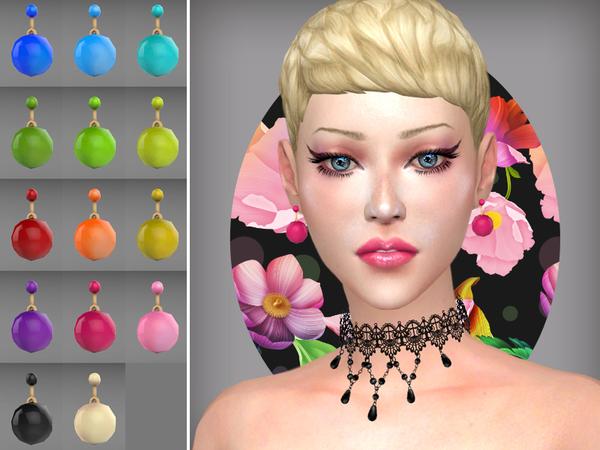 Sims 4 Sphere earrings by WistfulCastle at TSR