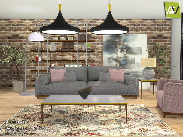 Baltimore Living Room by ArtVitalex at TSR image 542 Sims 4 Updates
