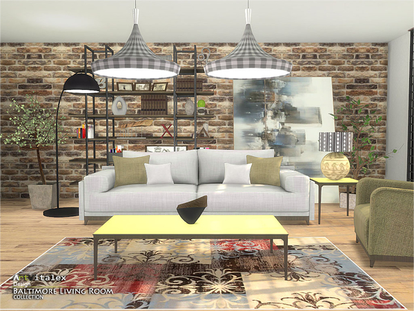 Baltimore Living Room by ArtVitalex at TSR image 552 Sims 4 Updates