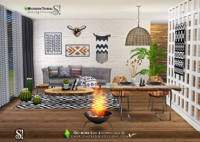 Modern Tribal Dining at SIMcredible! Designs 4 image 5611 670x474 Sims 4 Updates
