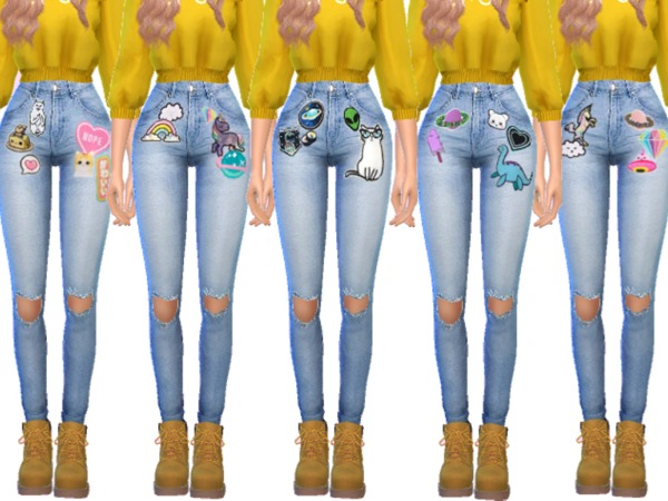 Kawaii Patched Jeans 2 by Wicked Kittie at TSR image 563 Sims 4 Updates