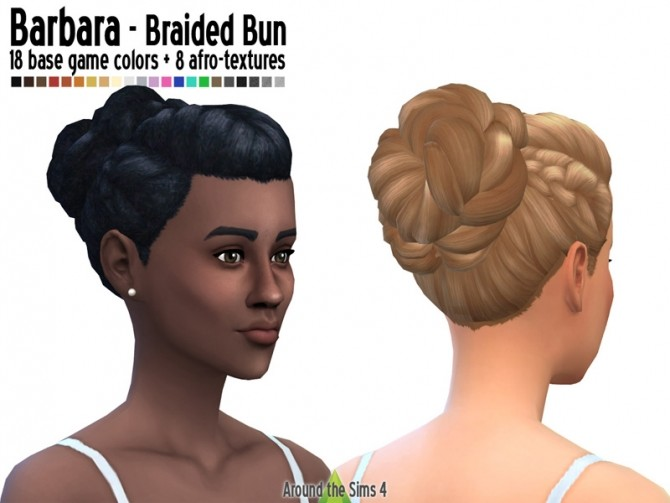 Braided bun straight & afro hair at Around the Sims 4 image 5714 670x503 Sims 4 Updates