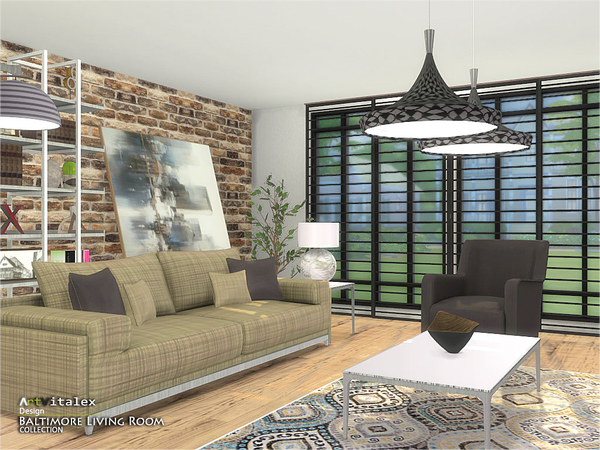 Baltimore Living Room by ArtVitalex at TSR image 572 Sims 4 Updates