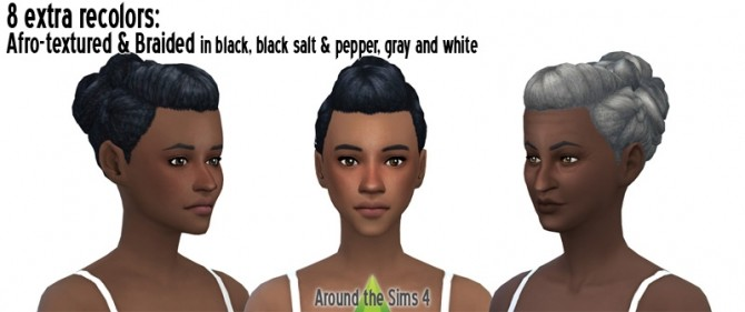 Braided bun straight & afro hair at Around the Sims 4 image 5815 670x281 Sims 4 Updates