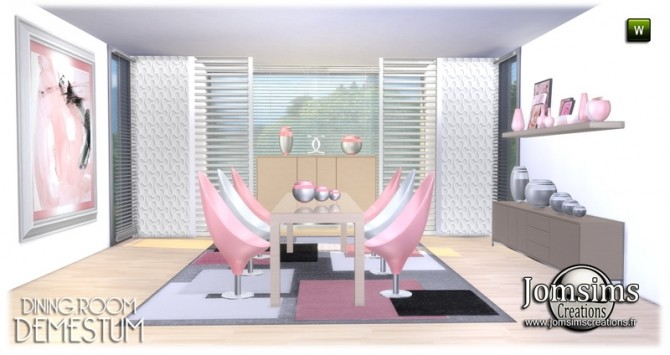 Demestum dining room in 4 shades at Jomsims Creations image 6011 670x355 Sims 4 Updates