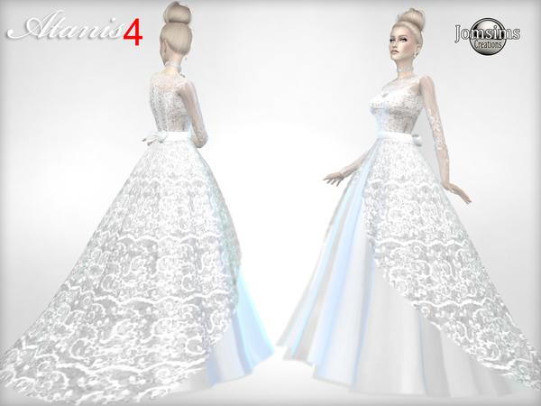Sims 4 Atanis wedding dress 4 by jomsims at TSR