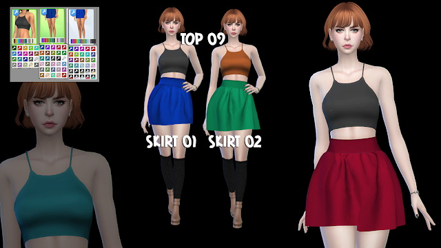 Sims 4 TOP 09 SKIRT 01 & 02 at All by Glaza
