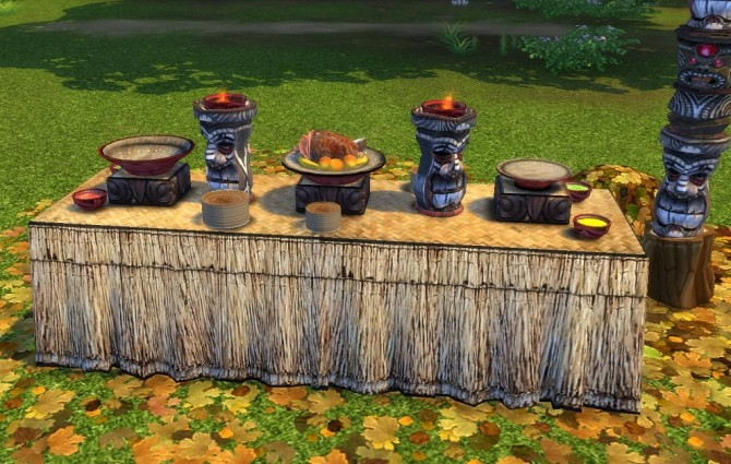 Sims 4 Castaway Stories Buffet Table by BigUglyHag at SimsWorkshop