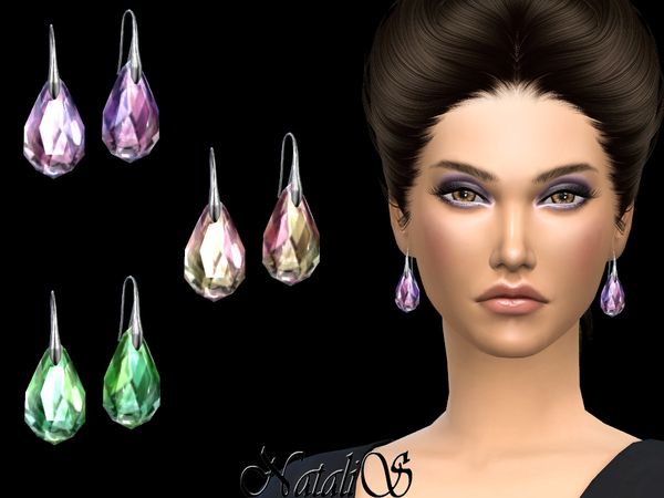 Sims 4 Abstract pierced crystal earrings by NataliS at TSR