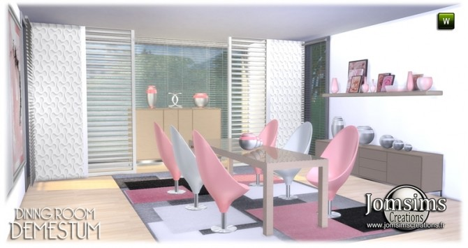Demestum dining room in 4 shades at Jomsims Creations image 6411 670x355 Sims 4 Updates