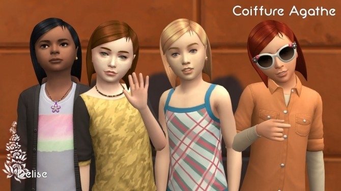 Sims 4 Agathe hair for kids by Delise at Sims Artists