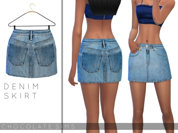 Sims 4 Denim Skirt by MissSchokoLove at TSR