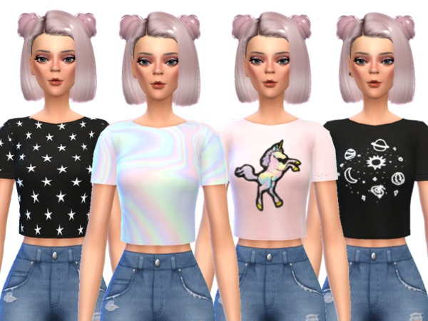 Sims 4 Kawaii Crop Tops by Wicked Kittie at TSR