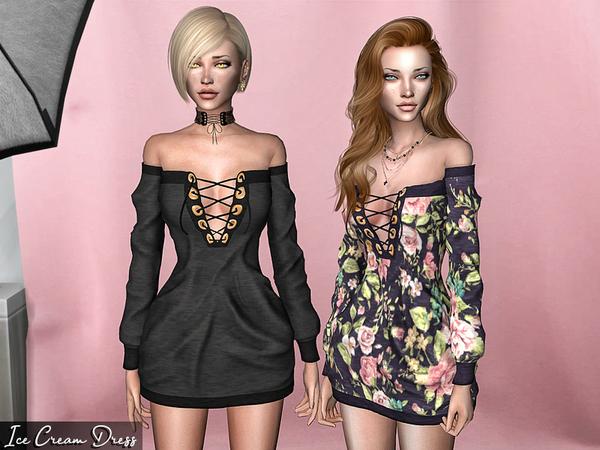 Sims 4 Ice Cream Dress by Genius666 at TSR