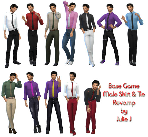 Sims 4 Male Shirt Tie Revamp at Julietoon – Julie J