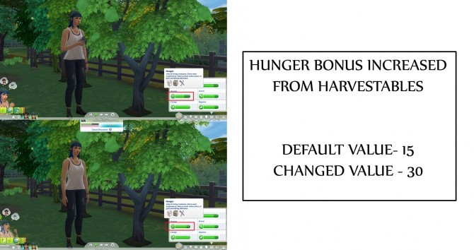 Sims 4 Hunger bonus Increase from harvestables by icemunmun at Mod The Sims