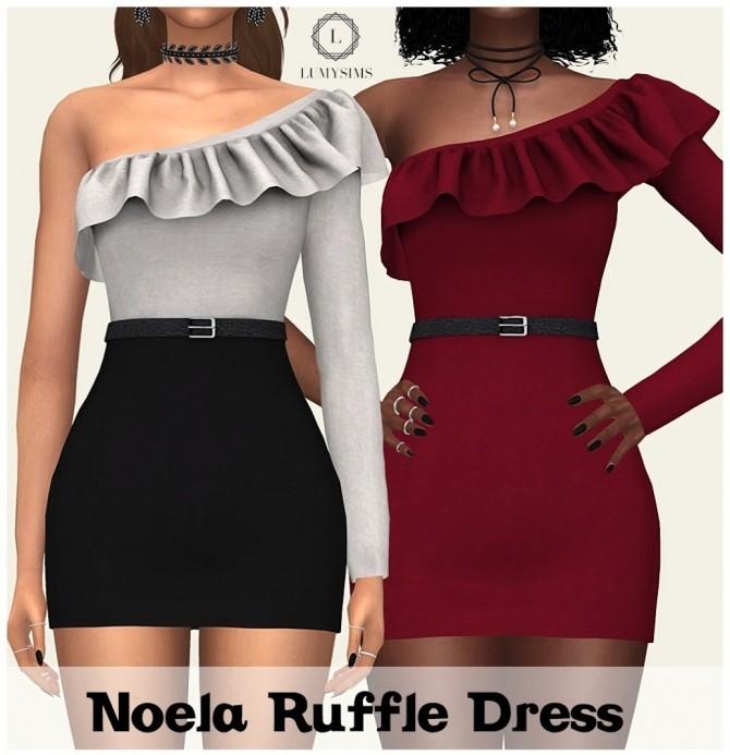 Sims 4 Noela Ruffle Dress at Lumy Sims