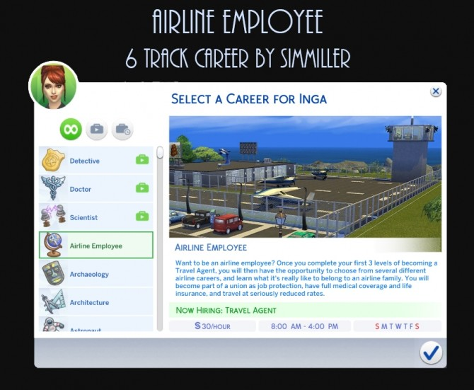 Airline Employee 6 Career Tracks by Simmiller at Mod The Sims image 856 670x551 Sims 4 Updates