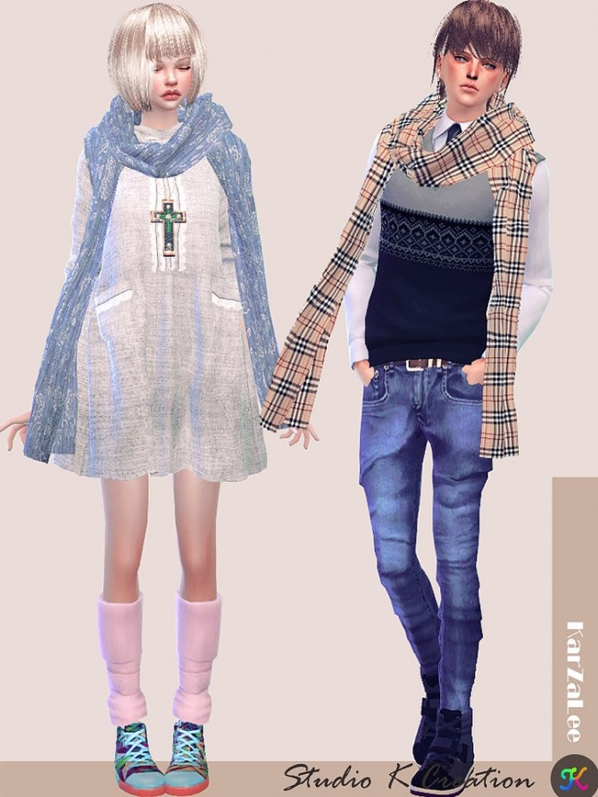Simple long scarf at Studio K Creation image 859 670x893 Sims 4 Updates
