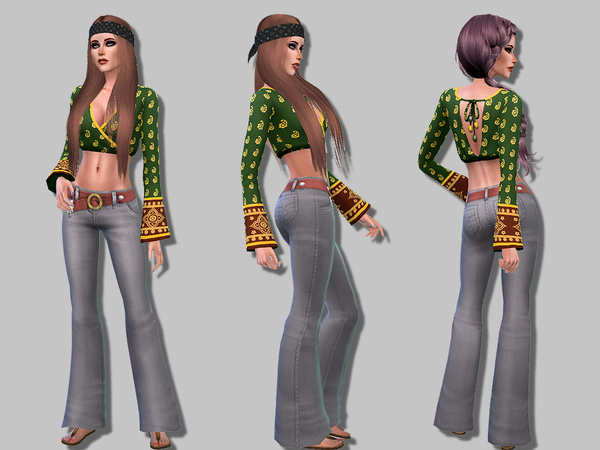 Sims 4 Hippie outfit by Simalicious at TSR