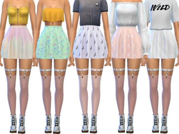 Sims 4 Pastel Skater Skirts by Wicked Kittie at TSR