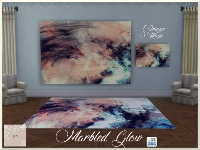Marbled Glow two paintings and rug by augold44 at Mod The Sims image 936 670x503 Sims 4 Updates