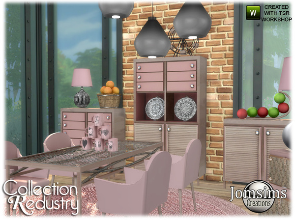 Redustry dining room by jomsims at TSR image 942 Sims 4 Updates