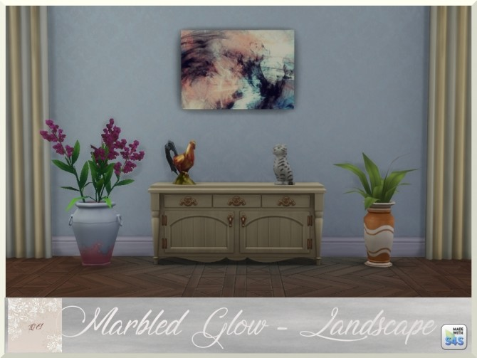 Sims 4 Marbled Glow two paintings and rug by augold44 at Mod The Sims