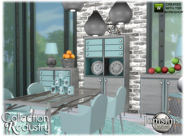 Redustry dining room by jomsims at TSR image 952 Sims 4 Updates