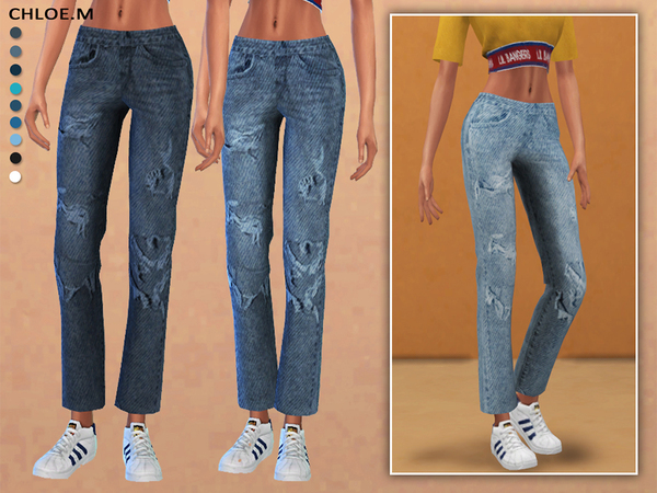 Sims 4 Straight Leg Jeans by ChloeMMM at TSR