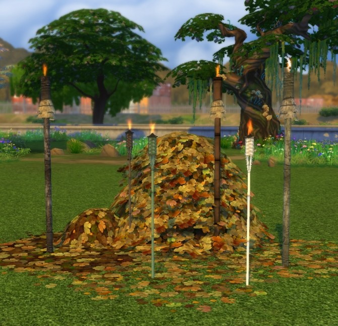 Sims 4 Torches from Sims 2 and Castaway Stories by BigUglyHag at SimsWorkshop
