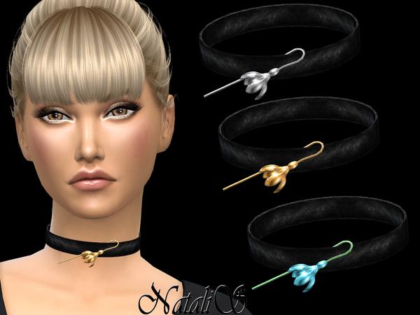 Sims 4 Spring flower choker by NataliS at TSR