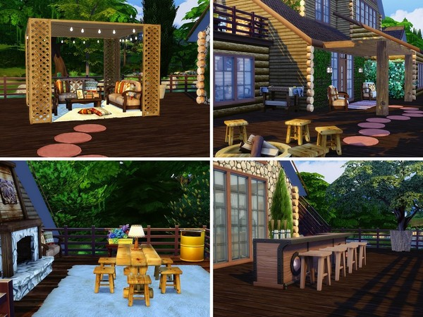 Sims 4 Wooden Lake House 2 by MychQQQ at TSR