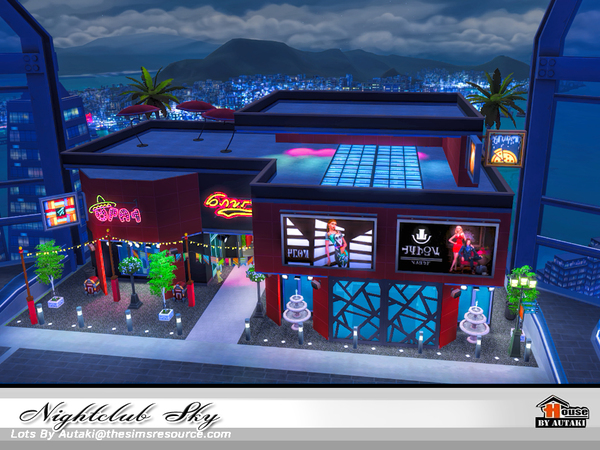 Sims 4 Nightclub Sky by autaki at TSR