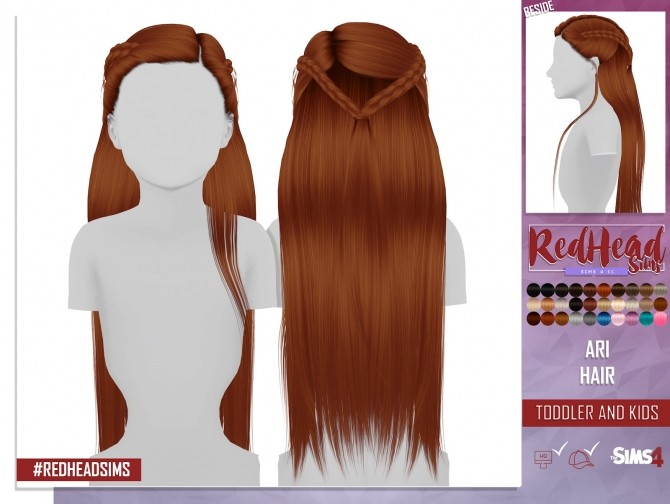 LEAH LILITH ARI HAIR KIDS AND TODDLER VERSION by Thiago Mitchell at REDHEADSIMS image 103 670x504 Sims 4 Updates