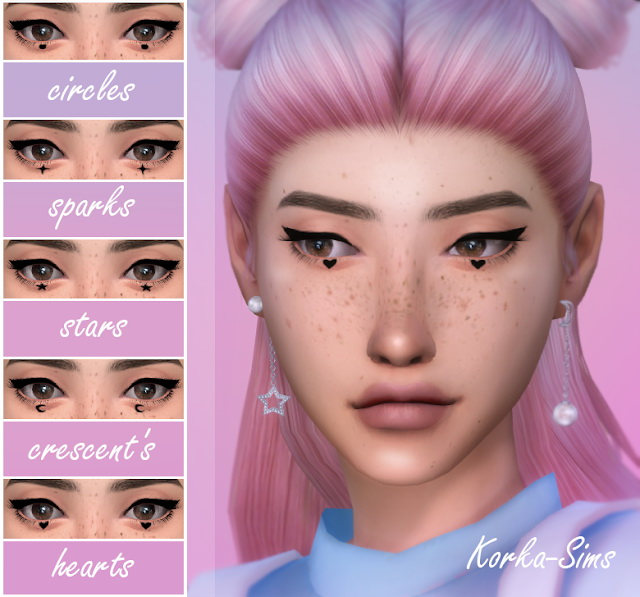 Sims 4 Eyeliner with symbols under the eyes at Korka Sims