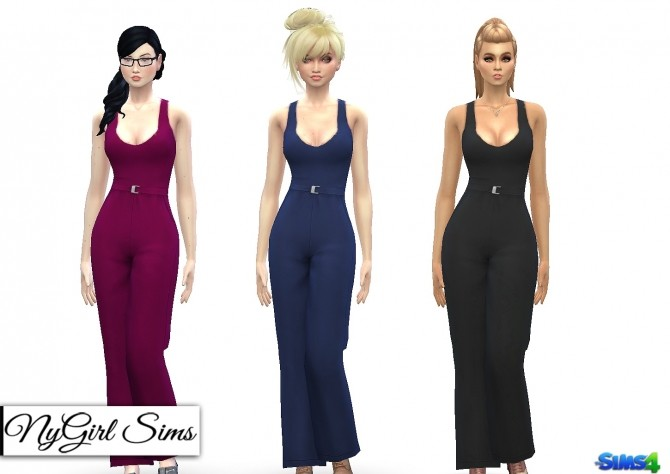 Tank Jumpsuit with High Waist Belt at NyGirl Sims image 1048 670x474 Sims 4 Updates