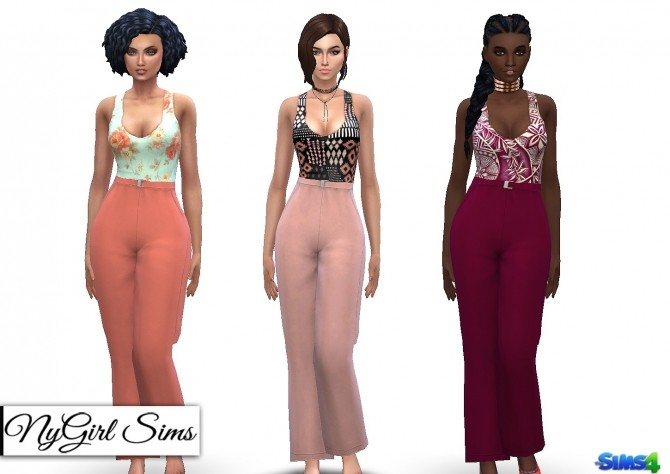Tank Jumpsuit with High Waist Belt at NyGirl Sims image 1057 670x474 Sims 4 Updates