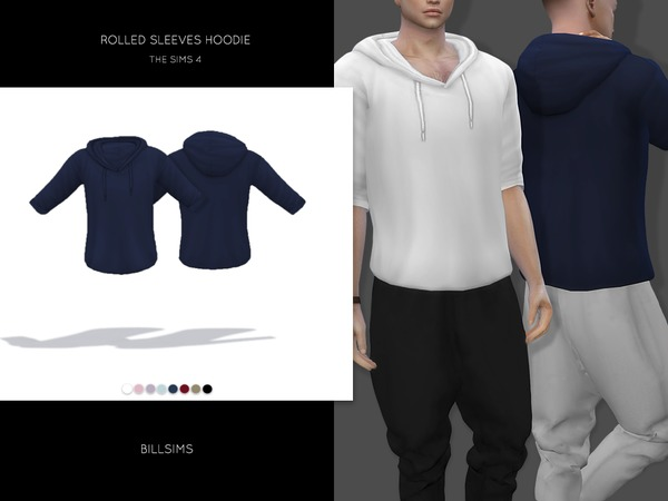 Sims 4 Rolled Sleeves Hoodie by Bill Sims at TSR