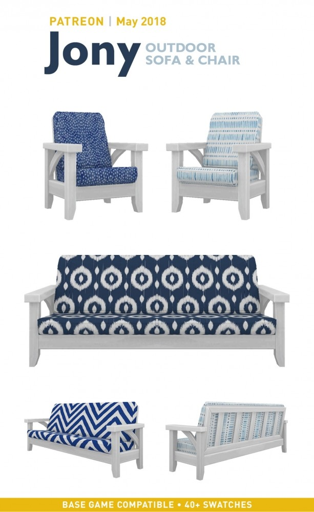 Jony Outdoor Sofa + Chair at SimPlistic image 11017 613x1000 Sims 4 Updates