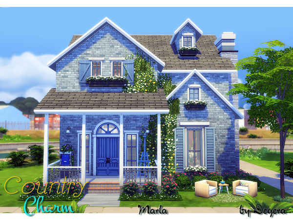 Sims 4 Marla charming country style family home by Degera at TSR