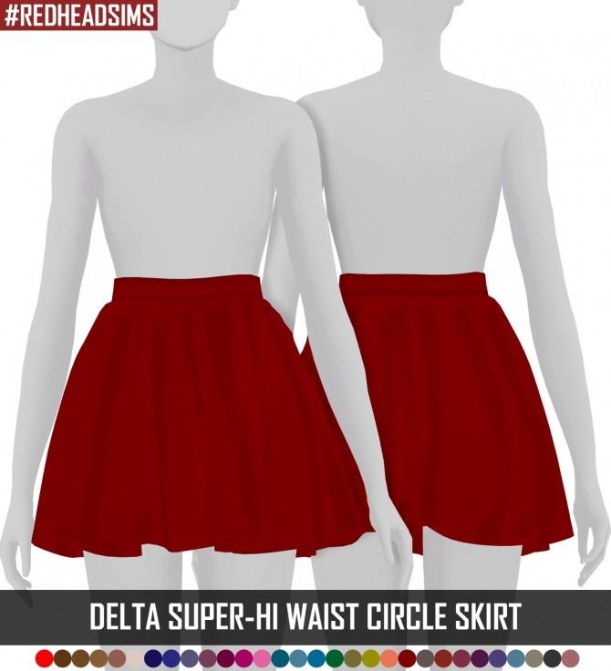 DELTA SUPER HI WAIST CIRCLE SKIRT at REDHEADSIMS – Coupure Electrique image 1162 670x736 Sims 4 Updates