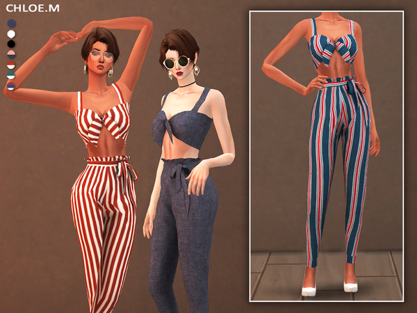 Sims 4 Camisole and Pants with bowknot by ChloeMMM at TSR