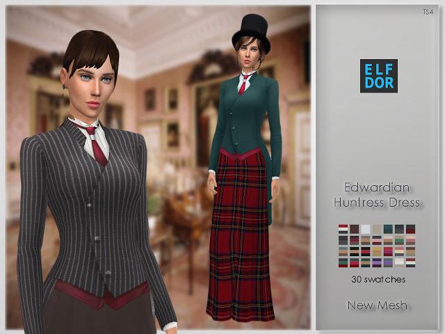 Sims 4 Edwardian Huntress Dress at Elfdor Sims