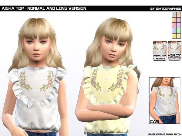Sims 4 Aisha Top Normal and Long Version by simtographies at TSR
