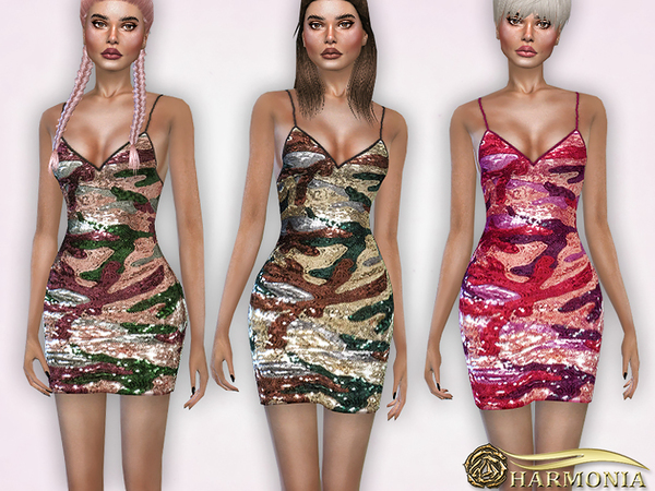 Camouflage Sequin Bodycon Dress by Harmonia at TSR image 1214 Sims 4 Updates