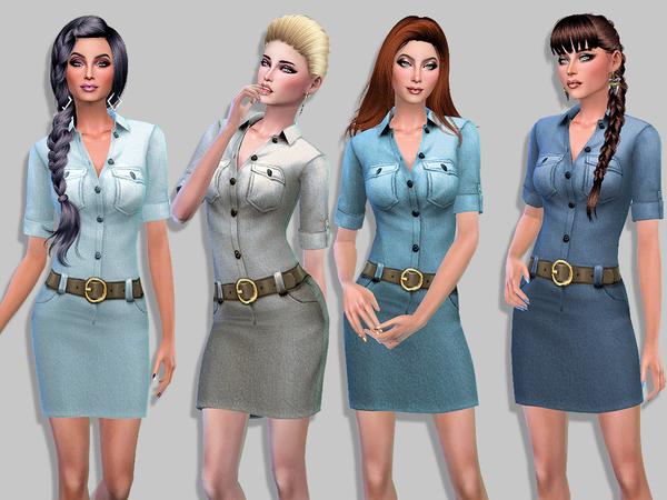 Fanny denim dress by Simalicious at TSR image 1270 Sims 4 Updates