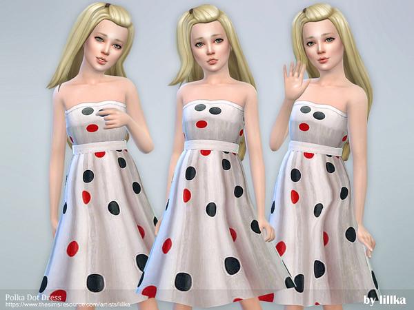 Polka Dot Dress by lillka at TSR image 1326 Sims 4 Updates